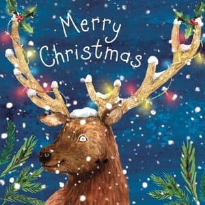 WF9  Happy Christmas Card with Deer